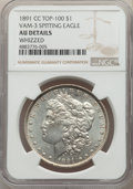 Morgan Dollars, 1891-CC $1 Spitting Eagle, VAM-3, -- Whizzed -- NGC Details. AU. A Top 100 Variety. NGC Census: (55/4100). PCGS Population:...