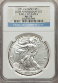 Modern Bullion Coins, 2011-S $1 Silver Eagle, 25th Anniversary, Early Releases MS70 NGC. NGC Census: (18379). PCGS Population: (8146). MS70....