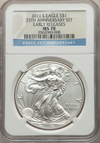 2011-S $1 Silver Eagle, 25th Anniversary, Early Releases MS70 NGC. NGC Census: (18379). PCGS Population: (8146). MS70...