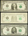 Gutter Fold Error Fr. 1910-B $1 1977A Federal Reserve Note. About Uncirculated; Insufficient Inking of Face Pri
