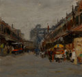 Paintings, American School (19th Century). New York Street Scene. Oil on board. 7-3/4 x 8-3/4 inches (19.7 x 22.2 cm). PROPERTY O...