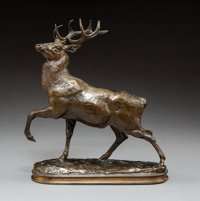 Antoine-Louis Barye (French, 1796-1875) Cerf, la jambe levee Bronze with brown patina 7-1/4 inche