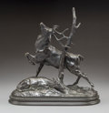 Sculpture, Antoine-Louis Barye (French, 1796-1875). Cerf frottant ses bois contre un arbre. Bronze with black patina. 9 inches (22....