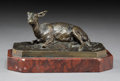 Sculpture, After Pierre Jules Mene (French). Doe. Bronze with brown patina. 2-1/4 inches (5.7 cm) high on a 3/4 inch (1.9 cm) high ...