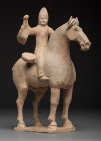 A Chinese Tang-Style Pottery Figure on Horse, Tang Dynasty or Later 14-3/4 x 12 x 5-1/2 inches (37.5 x 30.5 x 14.0