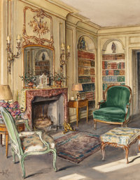 A Set of Two Framed Decorative Interior Paintings, 1930 28 x 21-3/4 inches (71.1 x 55.2 cm) (works) 32 X 25-5/8