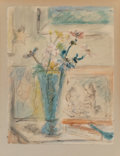 Works on Paper:Contemporary, Attributed to Filippo De Pisis (Italian, 1896-1956). Still Life with Flowers. Watercolor on paper. 25-1/4 x 19-5/8 inche...