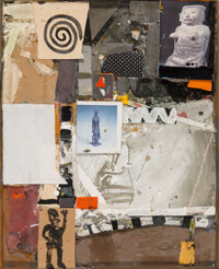 James Havard (American, b. 1937) Crosscultural, 1993 Mixed media on board with collage 40-1/2 x 3