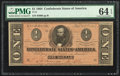 Confederate Notes:1864 Issues, T71 $1 1864 PF-12 Cr. 574 PMG Choice Uncirculated 64 EPQ.. ...