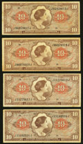 Military Payment Certificates:Series 641, Series 641 $10 Four Examples.. ... (Total: 4 notes)