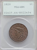 Large Cents, 1820 1C Large Date MS64 Brown PCGS. PCGS Population: (244/181). NGC Census: (164/174). CDN: $1,025 Whsle. Bid for problem-f...