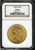 Liberty Double Eagles: , 1906-D $20 MS64 NGC....