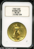 High Relief Double Eagles: , 1907 $20 High Relief, Wire Rim MS60 NGC....