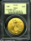 High Relief Double Eagles: , 1907 $20 High Relief, Wire Rim MS62 PCGS....