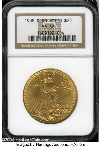 1908 NO MOTTO St Gaudens $20 Double Eagle Gold Coin NGC MS-62 B