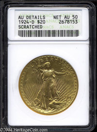 1924-D $20 --Scratched--ANACS. AU Details, Net AU50. Still a somewhat lustrous example. A few deeper contact marks dot t...