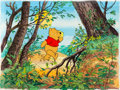 Animation Art:Production Cel, Winnie the Pooh Learns about the Rules Winnie the PoohProduction Cel and Key Master Background (Walt Disney, 1982)....