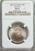 Colombia, Colombia: Republic 50 Centavos 1883 MS64 NGC,...