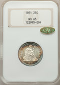 Seated Quarters, 1891 25C MS65 NGC. Gold CAC....