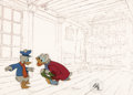 Animation Art:Production Cel, Mickey's Christmas Carol Donald Duck and Scrooge McDuckProduction Cel with Line Test Background (Walt Disney, 1983)....