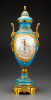 A Sèvres-Style Porcelain and Gilt Bronze Covered Urn, France, 19th century 27 x 10 x 9 inche