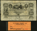 Obsoletes By State:New Hampshire, Portsmouth, NH- Piscataqua Exchange Bank $20 18__ Remainder Choice AU;. (Pittsburgh, PA)- Allegheny County Jail Cantee... (Total: 2 items)