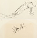 Animation Art:Production Drawing, Plane Crazy Mickey Mouse with Minnie Mouse and Plane Animation Drawings Group of 2 (Walt Disney, 1928-29).... (Total: 2 Original Art)