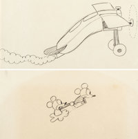 Plane Crazy Mickey Mouse with Minnie Mouse and Plane Animation Drawings Group of 2 (Walt Disney, 1928-29).... (Total: 2...