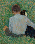 Paintings:Modern  (1900 1949), Henri Jean Guillaume Martin (French, 1860-1943). Carlo et le chien. Oil on board. 16-1/4 x 13-1/8 inches (41.3 x 33.3 cm...