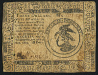 Continental Currency May 10, 1775 $3 Fine