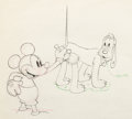 Animation Art:Production Drawing, Society Dog Show Mickey Mouse and Pluto Animation Drawing (Walt Disney, 1939)....