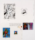 Original Comic Art:Illustrations, Cully Hamner, Terry Dodson, Karl Kessel, and Others - WildStorm Related Trading Card Illustration Original Art and Uncut Card ... (Total: 5 Items)