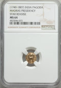 India:British India, India: British India. Madras Presidency gold Pagoda ND (1740-1807) MS64 NGC,...