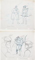 The Superman/Aquaman Hour of Adventure Character Development Drawings Group of 7 (Filmation, 1967). ... (Total: 7 Origin...