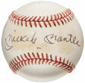 Autographs:Baseballs, Circa 1993 Mickey Mantle Single Signed Baseball from The Enos Slaughter Collection....