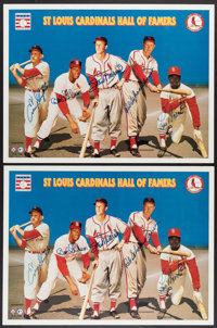 """1996 """"St. Louis Cardinals Hall of Famers"""" Multi-Signed Posters Lot of 9 from The Enos Slaughter Collection"""