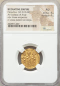 Ancients:Byzantine, Ancients: Heraclius (AD 610-641), with Heraclius Constantine andHeraclonas. AV solidus (19mm, 4.41 gm, 6h). NGC AU 4/5 - 4/5....