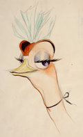 Animation Art:Concept Art, Fantasia Madame Upanova Character Design Drawing by James Bodrero (Walt Disney, 1940)....