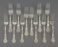 Silver Flatware, American, Twelve George W. Shiebler & Co. Fiorito Pattern SilverForks, New York, designed 190...