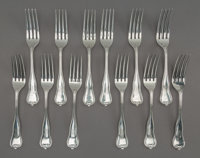 Twelve Peter L. Krider Co. Bead Pattern Silver Forks, Philadelphia, late 19th-early 20th century Marks to each: (lion-K-...