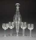 Glass, A Twenty-Five-Piece Tharaud Royal Peacock Pattern Wine Service, Maplewood, New Jersey, 20th century. 11 x 4-3/4 ... (Total: 25 Items)