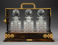 A Betjemann Wood Tantalus with Brass Hardware and Original Cut Glass Decanters Retailed by Tiffany & Co., London, ci...