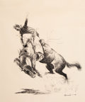 Prints & Multiples, Edward Borein (American, 1873-1945). Bucking Broncho. Relief print on wove paper. 21 x 17 inches (53.3 x 43.2 cm) (sheet...
