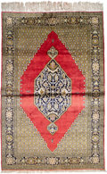 Silver Flatware, Chinese Export, A Silk Qum Rug, Central Persia, 20th century. 81-1/2 x 54 inches(207.0 x 137.2 cm). ...
