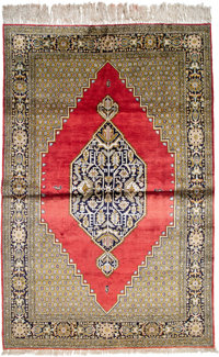 A Silk Qum Rug, Central Persia, 20th century 81-1/2 x 54 inches (207.0 x 137.2 cm)