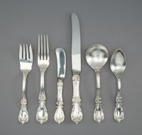 A Seventy-One-Piece Reed & Barton Burgundy Pattern Silver Flatware Service with Original Fit