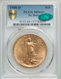 Saint-Gaudens Double Eagles, 1908-D $20 No Motto MS64+ PCGS. CAC....