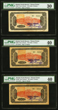 World Currency, British North Borneo Nissan Estate 5 Dollars ND (1942) Pick Unlisted KNB3 Three Consecutive Examples PMG Very Fine 30; Ext... (Total: 3 notes)