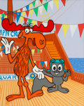 Animation Art:Presentation Cel, Rocky and Bullwinkle Scene Cel on Production Background (JayWard, c. 1970s). ...