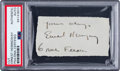 Miscellaneous Collectibles:General, 1920's Ernest Hemingway Signed Cut Signature. ...